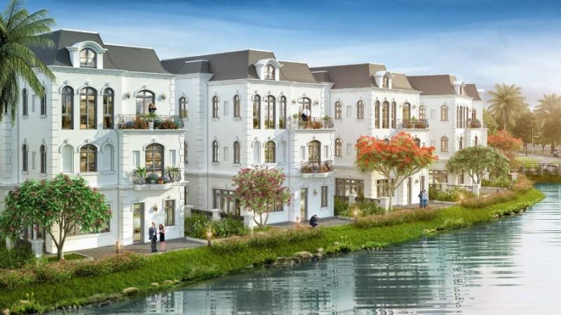 Mẫu thiết kế nhà biệt thự 3 tầng đơn lập ven hồ mau nha dep