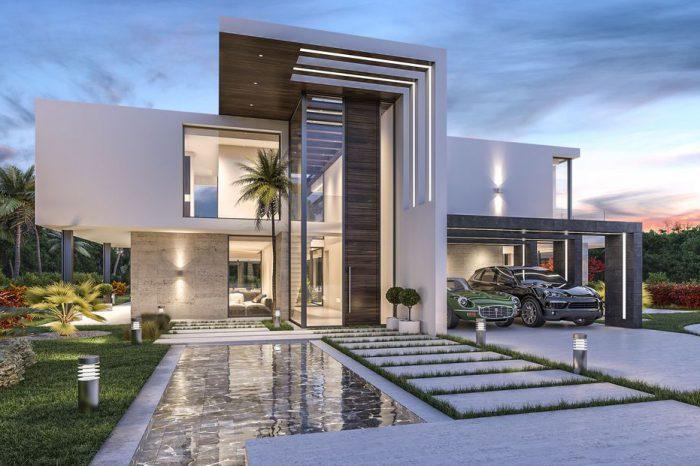 Mẫu thiết kế biệt thự vườn 2 tầng có bể bơi, phong cách hiện đại