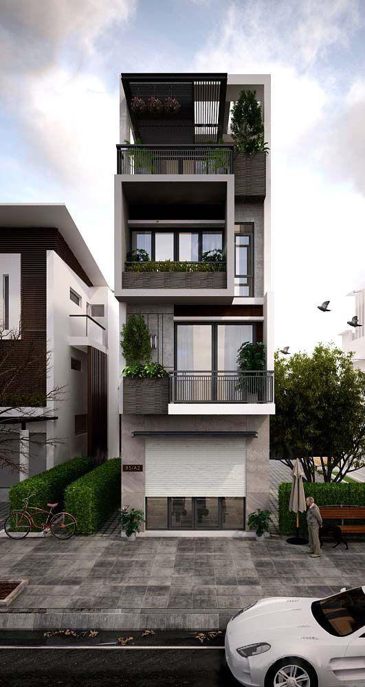 Mẫu thiết kế nhà phố đẹp 4 tầng có cửa cuốn - Mau nha dep nhat