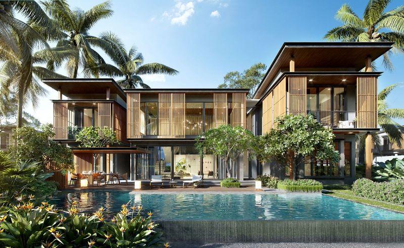 Mẫu thiết kế biệt thự vườn có bể bơi cây xanh