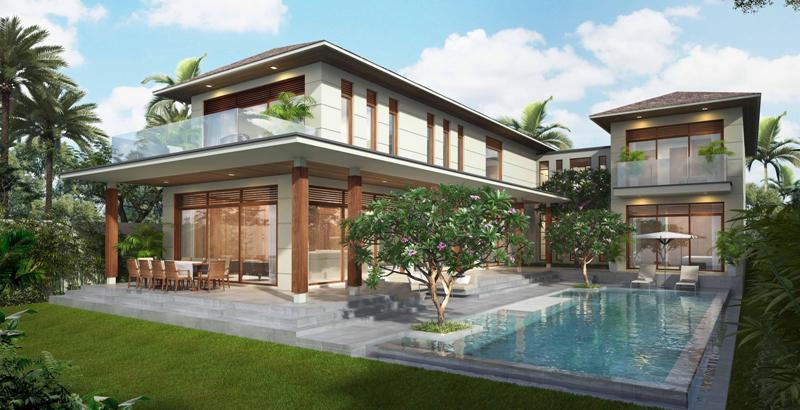 Mẫu nhà đẹp loại hình biệt thự sân vườn 2 tầng có bể bơi
