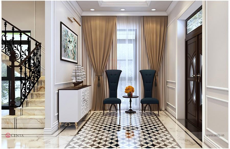 Thiết kế sảnh đón trong nội thất biệt thự có tủ thấp, rèm, bộ bàn trà, sảnh lát gạch hoa văn