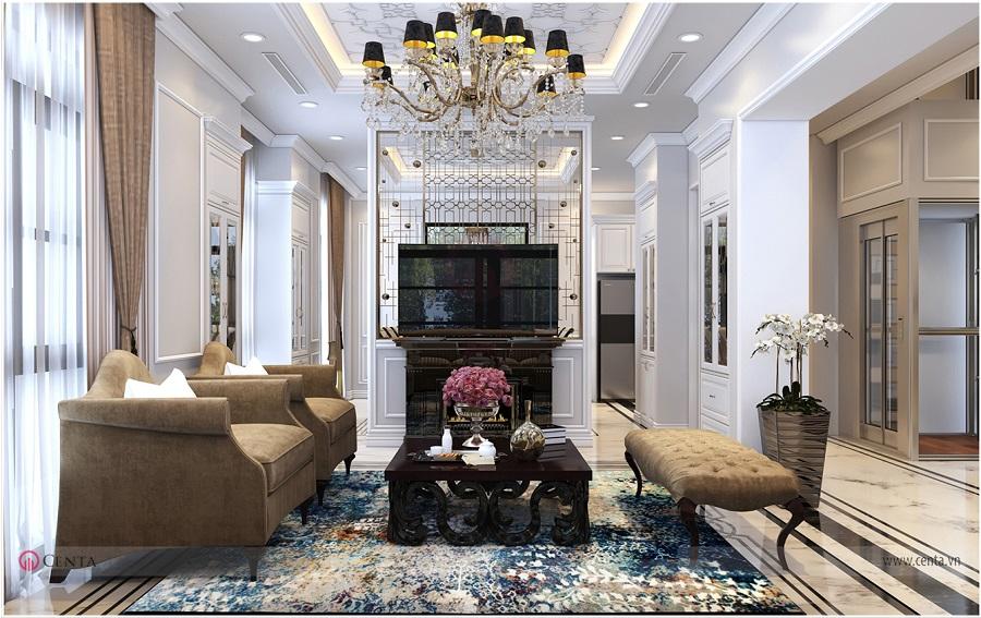Mẫu thiết kế phòng khách nội thất biệt thự Hải Âu Vinhomes Ocean Park sofa da tân cổ điển