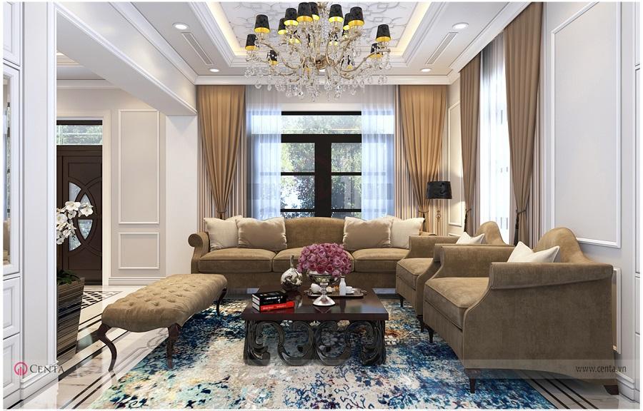 Thiết kế nội thất phòng khách tân cổ điển biệt thự Hải Âu sofa
