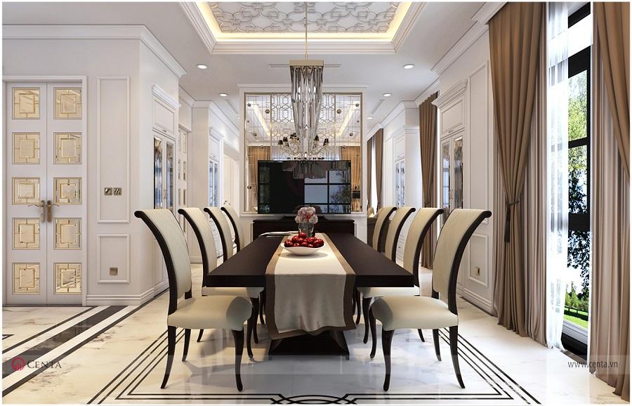 Bộ bàn ăn đặt cạnh phòng bếp