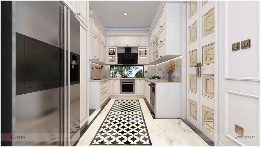 Bếp màu trắng, ốp lát gạch hoa văn trong bếp