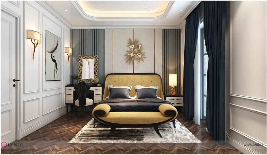 Phòng ngủ đẹp có giường và sofa đầu giường
