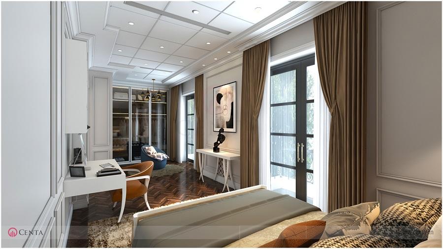 Trang trí thiết kế phòng ngủ, cửa kính, rèm