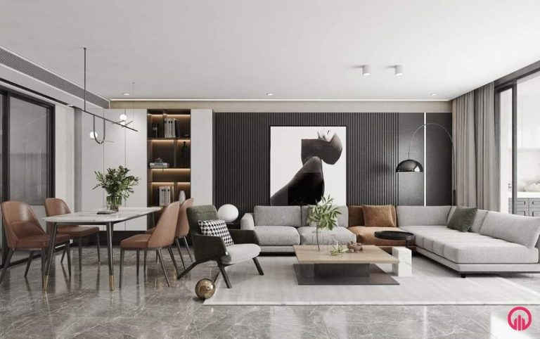 Tủ âm tường có thể làm cao kịch trần (trần chung cư cao khoảng 2.55m), bàn ăn 4 chỗ ghế đơn, bộ sofa nỉ, tranh treo tường có đèn trang trí, sàn lát gạch, nhôm kính căn hộ chung cư