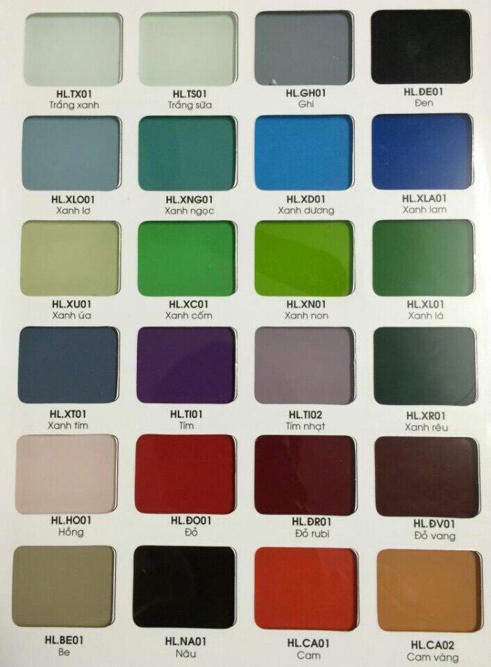 Kính màu ốp bếp: trắng xanh, trắng sữa, ghi, đen, xanh lơ, xanh ngọc, xanh dương, xanh lam, xanh úa, xanh cốm, xanh non, xanh lá, xanh tím, tím, tím nhạt, xanh nâu, hồng, đỏ, đỏ tươi, đỏ vàng, be, nâu, cam, cam vàng