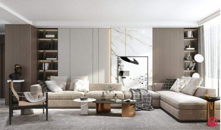 sofa phòng khách chữ L, ốp gỗ công nghiệp tường màu sáng, tủ trang trí âm tường