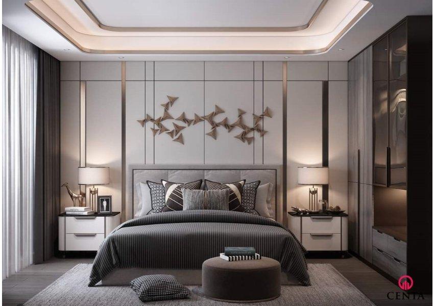 Phòng ngủ trần thạch cao bo góc tròn, tủ áo cánh kính, giường đơn giản hiện đại phong cách đương đại