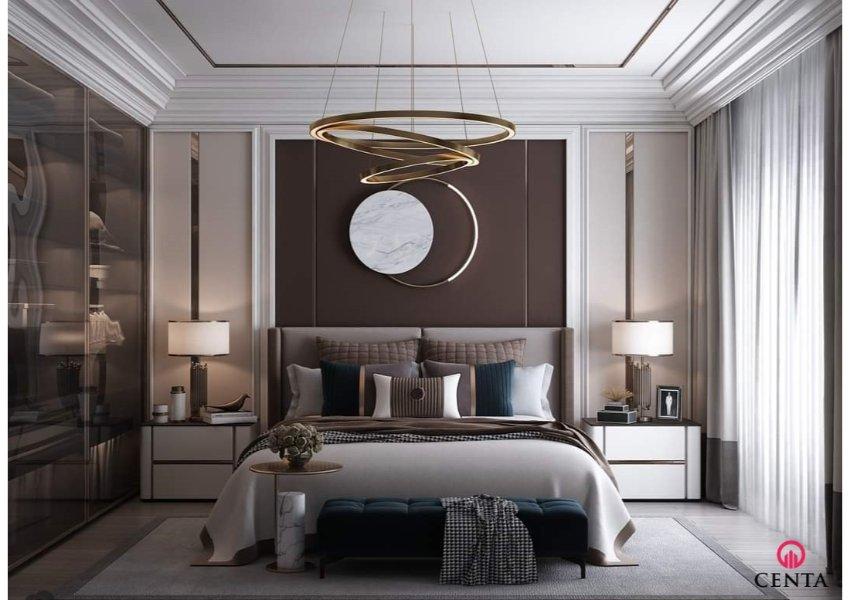 Trần thạch cao giật cấp cho phòng ngủ trang trí nhẹ nhàng có đường nét. Sử dụng phào PU làm trang trí trần