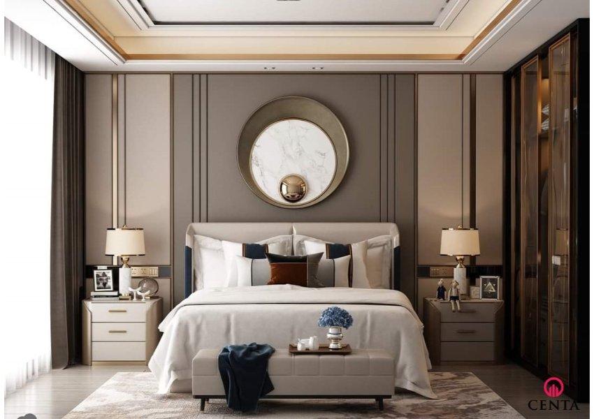 Phòng ngủ gam màu be xám có mẫu thiết kế táp đầu giường xinh xắn cho nữ giới. Gương treo tường đẹp