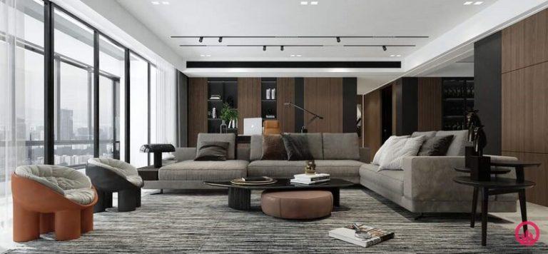 Trang trí phòng khách với hệ đèn ray