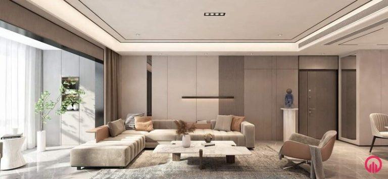 Phòng khách sử dụng trần thạch cao đơn giản