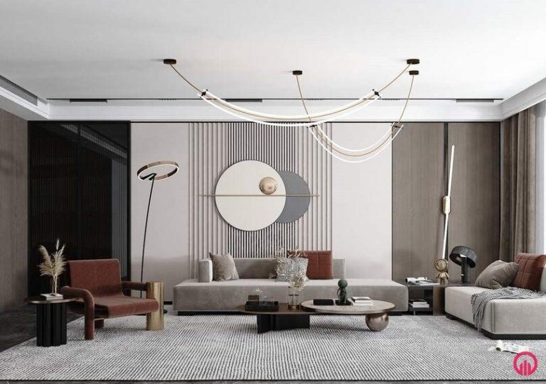 Thiết kế phòng khách đơn giản ấn tượng với đèn trang trí dạng thả