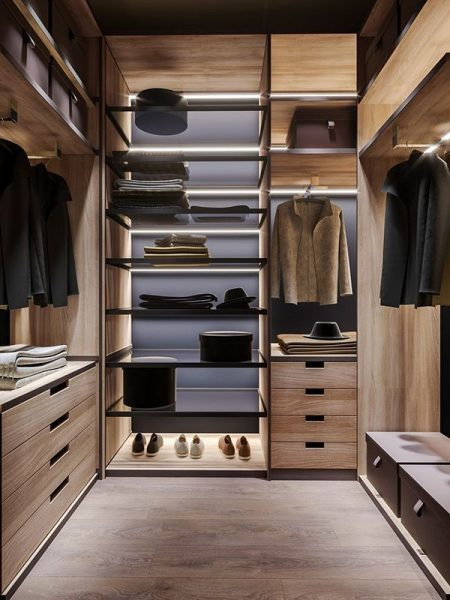 Tủ quần áo gỗ công nghiệp MDF phủ Laminate hiện đại có đèn ray led