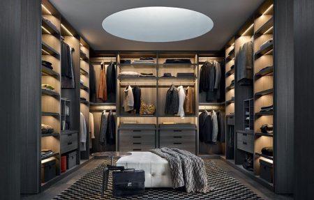 Mẫu tủ áo hiện đại không cánh dùng cho các phòng thay đồ cho biệt thự