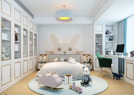 Với hoạt tiết chú chuột màu hồng tạo nên không gian căn phòng sự mới mẻ cộng một chút đáng yêu cho bé gái nhà bạn.