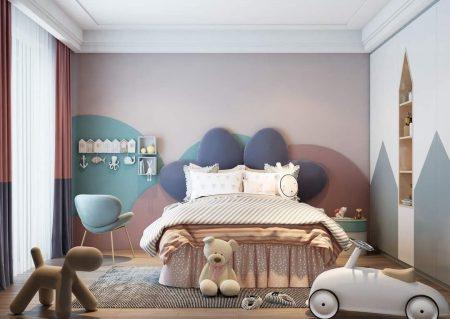 Giường ngủ cho bé gái thiết kế đơn giản nhưng không kém phần tinh tế.