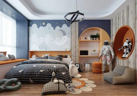 Phòng ngủ cho bé trai với họa tiết phi hành gia tạo nên không sáng độc lạ cho căn phòng