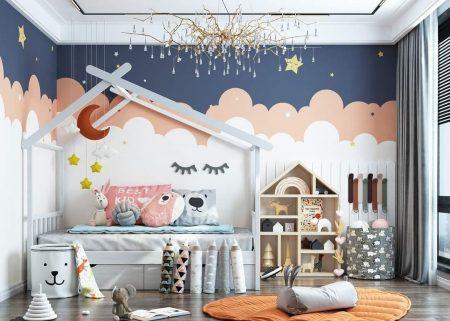 Phòng ngủ với nhiều màu sắc tạo nên không gian sáng sủa cho căn phòng của bé.