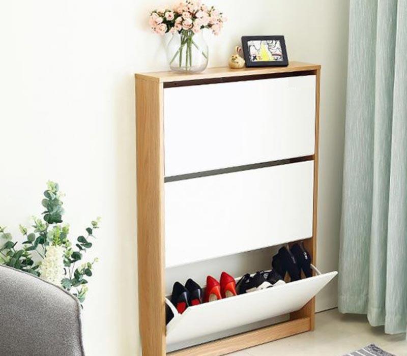Tủ giày siêu mỏng bằng gỗ