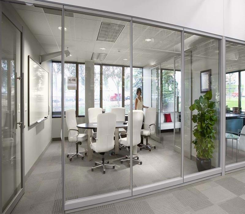 vách kính khung inox văn phòng hạng A
