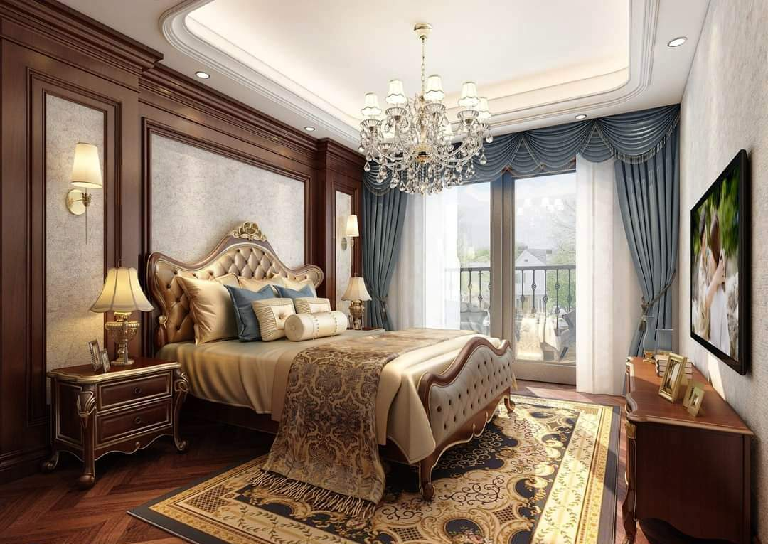 Thiết kế nội thất biệt thự giường ngủ tân cổ điển