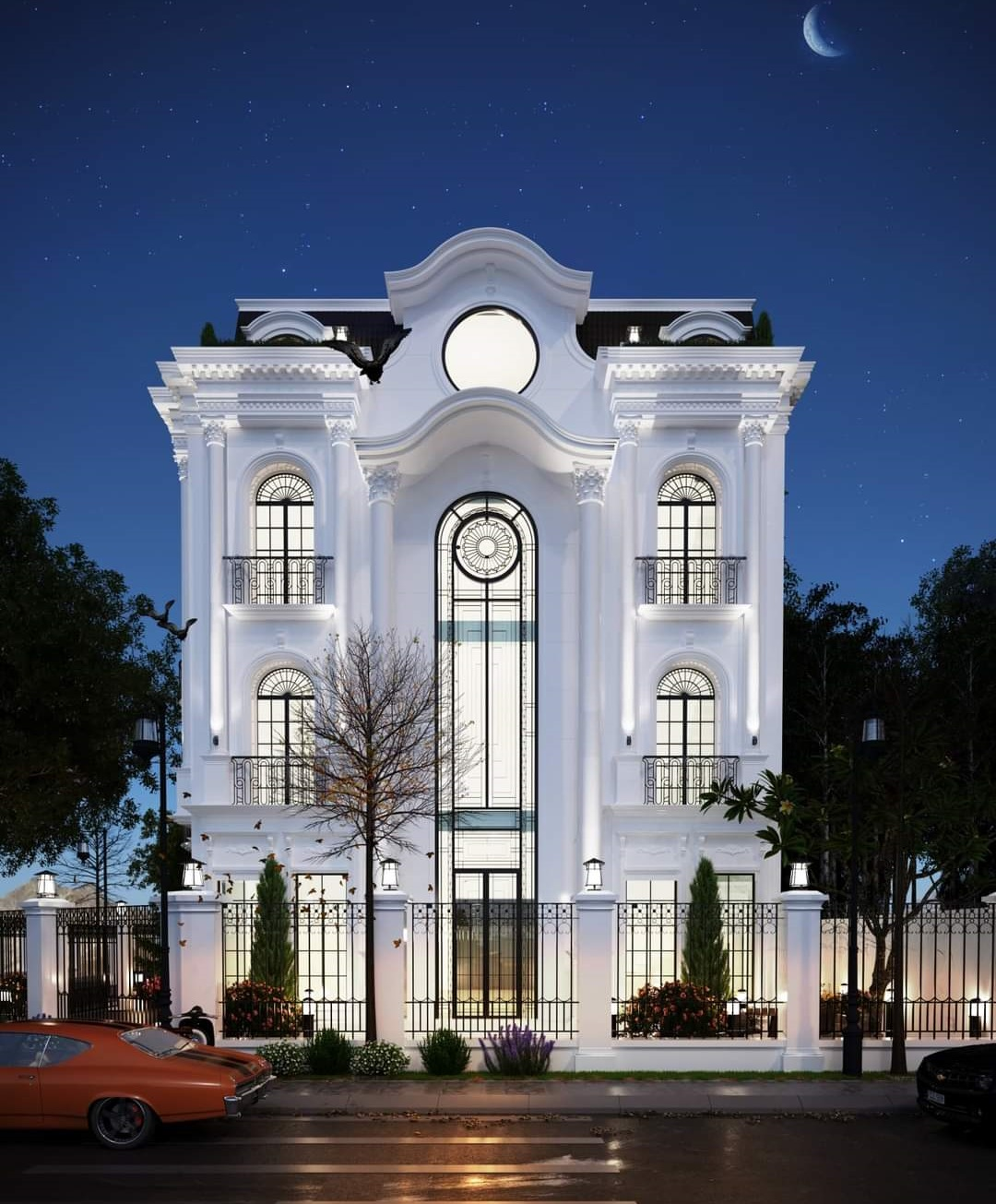 Thiết kế mặt tiền nhà biệt thự 3 tầng 1 tum phong cách tân cổ điển